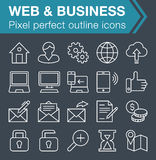Set of thin line web and business icons. Royalty Free Stock Photography