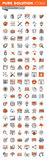 Set of thin line web icons of app development. Set of thin line web icons for graphic and web design and development. Icons of app development, cloud computing Royalty Free Stock Photo