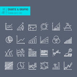 Set of thin line web icons of charts and diagrams Stock Images