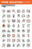 Set of thin line web icons of e-learning Royalty Free Stock Photography