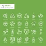 Set of thin line web icons for ecology. Set of thin line web icons stock illustration