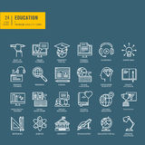 Set of thin line web icons for education Stock Photography