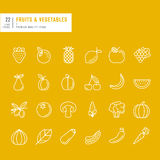 Set of thin line web icons for fruits and vegetables Stock Photo