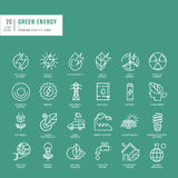 Set of thin line web icons for green energy. Set of thin line web icons stock illustration