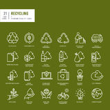 Set of thin line web icons for recycling Stock Image