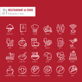 Set of thin line web icons for restaurant and food Stock Photography