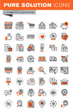 Set of thin line web icons of shopping. Set of thin line web icons for shopping, online shopping procedure, payment method, internet payment security, delivery Royalty Free Stock Photo