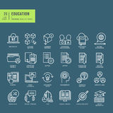 Set of thin line web icons on the theme of education Stock Images