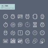 Set of thin line web icons on the theme of time Royalty Free Stock Photo