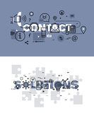 Set of thin line word banners of contact and solutions. Set of modern vector illustration concepts of words contact and solutions. Thin line flat design banners Stock Photo