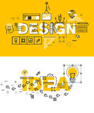 Set of thin line word banners of design and idea Stock Photo