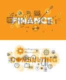 Set of thin line word banners of finance and consulting. Set of modern vector illustration concepts of words finance and consulting. Thin line flat design Royalty Free Stock Photos