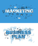 Set of thin line word banners of marketing and business plan Stock Photo