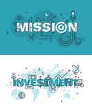 Set of thin line word banners of mission and investment Royalty Free Stock Photos