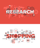 Set of thin line word banners of research and shopping Stock Images