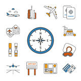 Set of  thin lined outlined icons for airplane travel. Stock Image