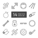 Set of  thin lined outlined icons for fitness and sport Royalty Free Stock Photography