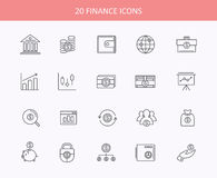 Set of thin, lines, financial service items icons Stock Photography
