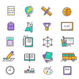 Set of Thin Lines Icons Back to School Stock Photos