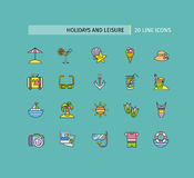 Set of Thin Lines Icons Holidays and Leisure Stock Image