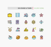 Set of Thin Lines Icons Sea Cruise and Tour Royalty Free Stock Images