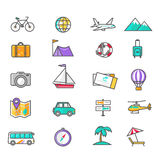 Set Thin Lines Icons of Traveling Royalty Free Stock Images