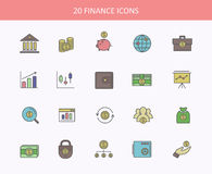 Set of thin, lines, outline financial service. Items icons, banking accounting tools, stock market global trading and money objects and elements. Flat thin line Royalty Free Stock Image