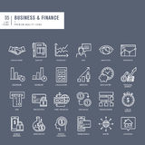 Set of thin lines web icons for business and finance Royalty Free Stock Photography