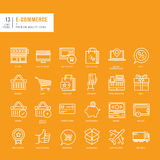 Set of thin lines web icons for e-commerce Royalty Free Stock Photos