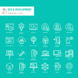Set of thin lines web icons for SEO and development Stock Photos
