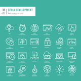 Set of thin lines web icons for SEO and web development Stock Image