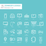 Set of thin lines web icons for technology Royalty Free Stock Images