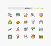 Set of Thin Lines Weekend Picnic Icons Royalty Free Stock Photo
