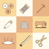 Set of thin needlework icons Royalty Free Stock Photography
