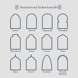 Set of thin outline common types of architectural arches icons Royalty Free Stock Image