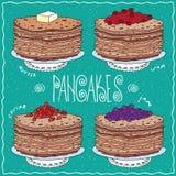 Set of thin pancakes in handmade cartoon style Stock Photography