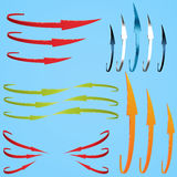 Set of thin twisted arrows Stock Photography