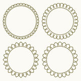 Set of 4 thin very simple stylish round decorative frames in mon Royalty Free Stock Image