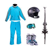 Set of things for downhill skiing. Isolation on the white Royalty Free Stock Image