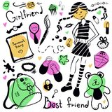 A set of  things  girl, drawing pen. A set of accessories and things of a young girl Stock Photos
