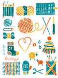 Set of the things for knitting. Vector knitting set in lino cut style Royalty Free Stock Photography