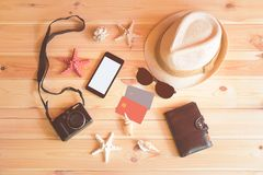 Set of things for summer holidays on wooden background. Top view, copy space royalty free stock image