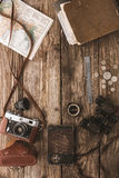 Set of things for travel on the wooden background top view Royalty Free Stock Photo