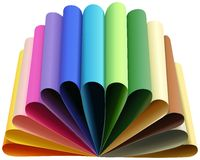 Set of thirteen colored papers folded to arcs Stock Photo
