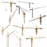 Set of thirteen hoisting cranes isolate on white royalty free stock images