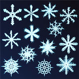 Set of thirteen snowflakes. Design for new year and Christmas. Royalty Free Stock Image