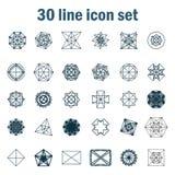 Set of thirty angular abstract vector icons Royalty Free Stock Image