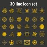 Set of thirty angular abstract vector icons Stock Photos