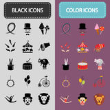 Set of thirty black and color circus icons Stock Photography