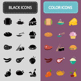 Set of thirty black and color food icons Royalty Free Stock Photography
